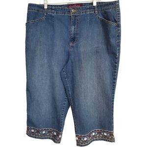 Gloria Vanderbilt Embroidered Crops Jeans